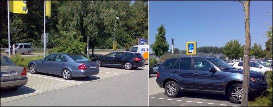 Oberklassefahrzeuge auf dem Discounterparkplatz