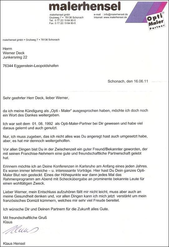Dankeschön an Werner Deck Opti-Maler
