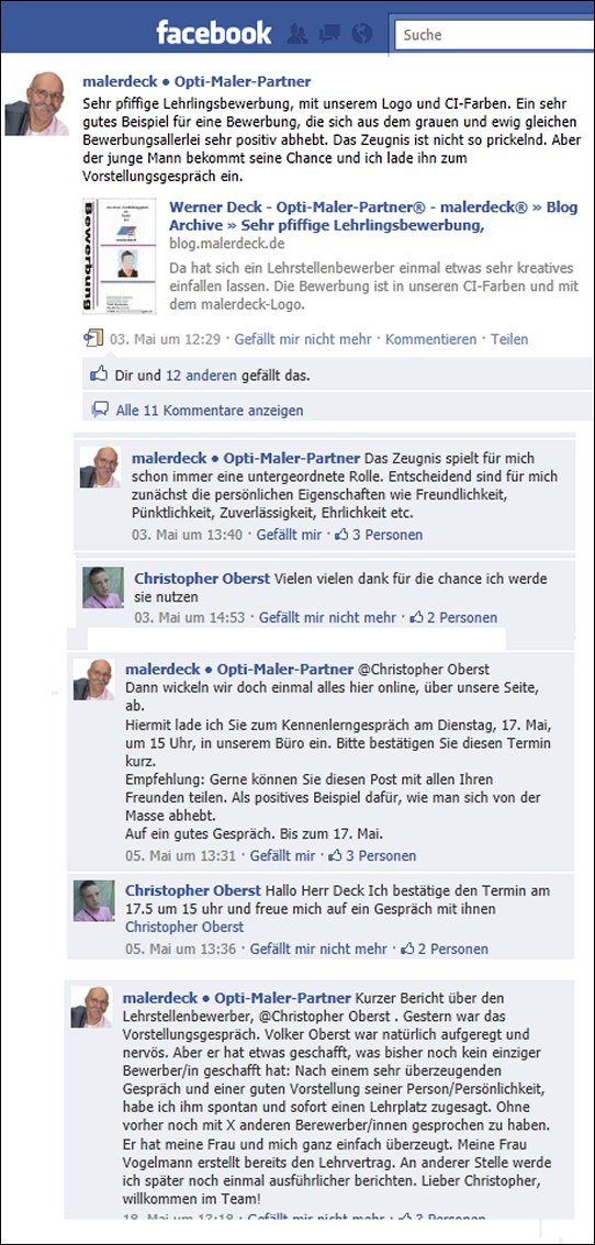 Facebook lehrling Azubi Bewerbung