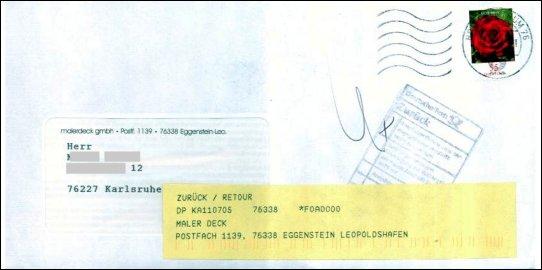Trotz richtiger Anschrift: Einladungsbrief kam zurück