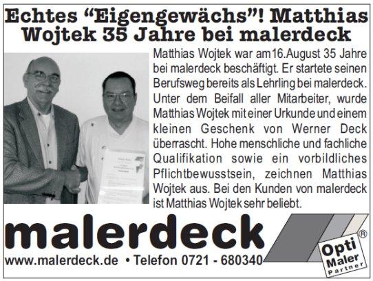 Anzeige für Matthias Wojtek