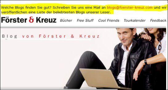 """""""Welche Blogs finden Sie gut?"""", fragten Förster & Kreuz ihre Blogleser"""