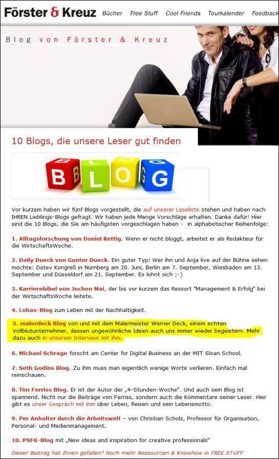 malerdeck-blog unter den 10 beliebtesten Blogs