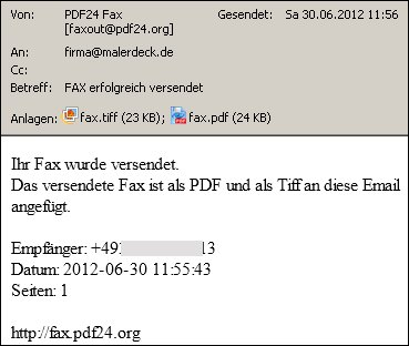Protokoll über Faxversand per Email