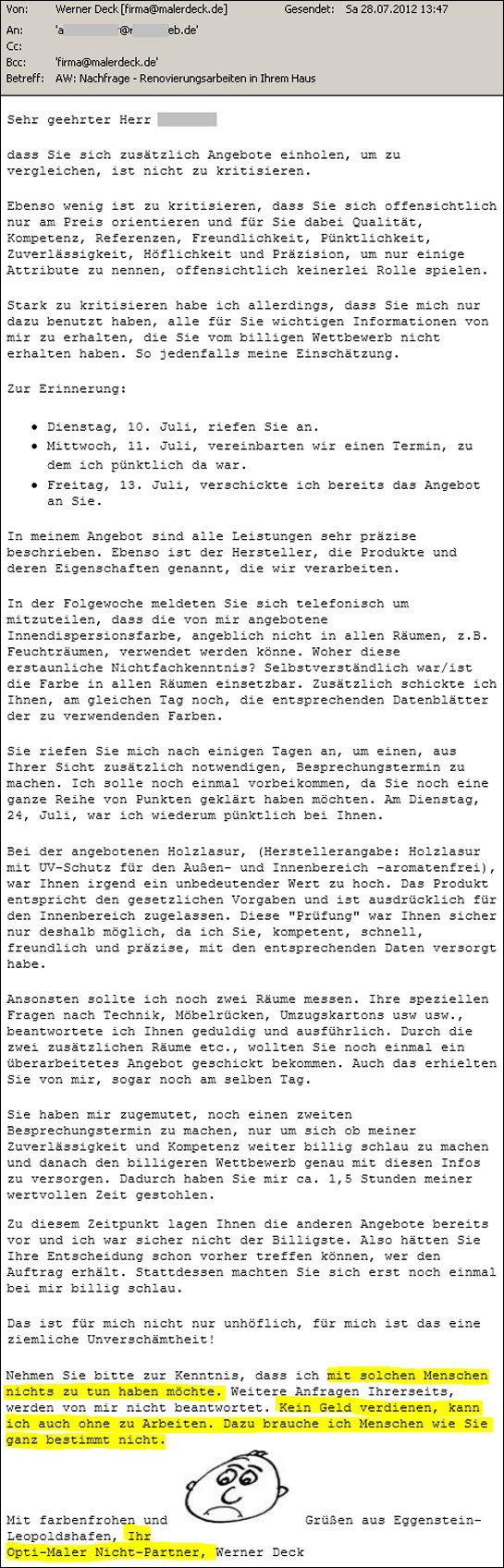 Angebotsabsage Archives Malerdeck Ihr Opti Maler Partner Aus