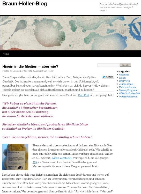 Unser Bärchen Clemens, auf dem Braun-Höller-Blog