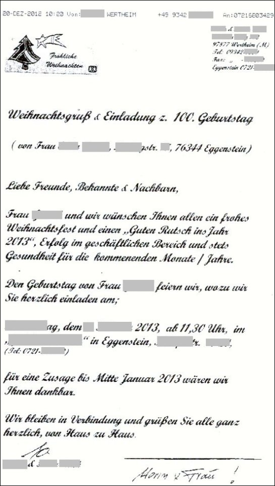 rührende einladung zum 100. geburtstag einer mir unbekannten dame, Einladung