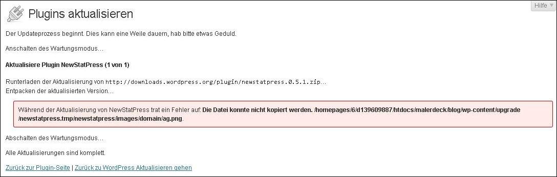 Fehlermeldung Plugin NewStatPress