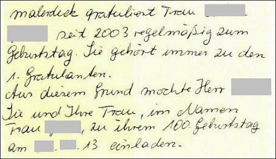Notiz Frau Vogelmann