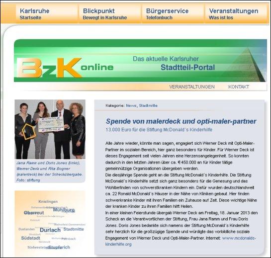13.000 Euro für die Stiftung McDonald´s Kinderhilfe