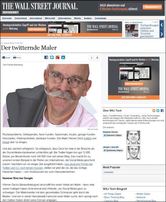 The Wall Street Journal - Der twitternde Maler