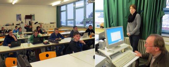 Die Akademieschüler/innen beobachten gespannt die Vorbereitung von Klassenlehrer Frank Gauss