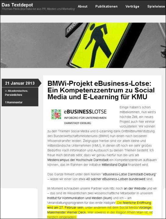 BMWi-Projekt eBusiness-Lotse: Ein Kompetenzzentrum zu Social Media und E-Learning für KMU