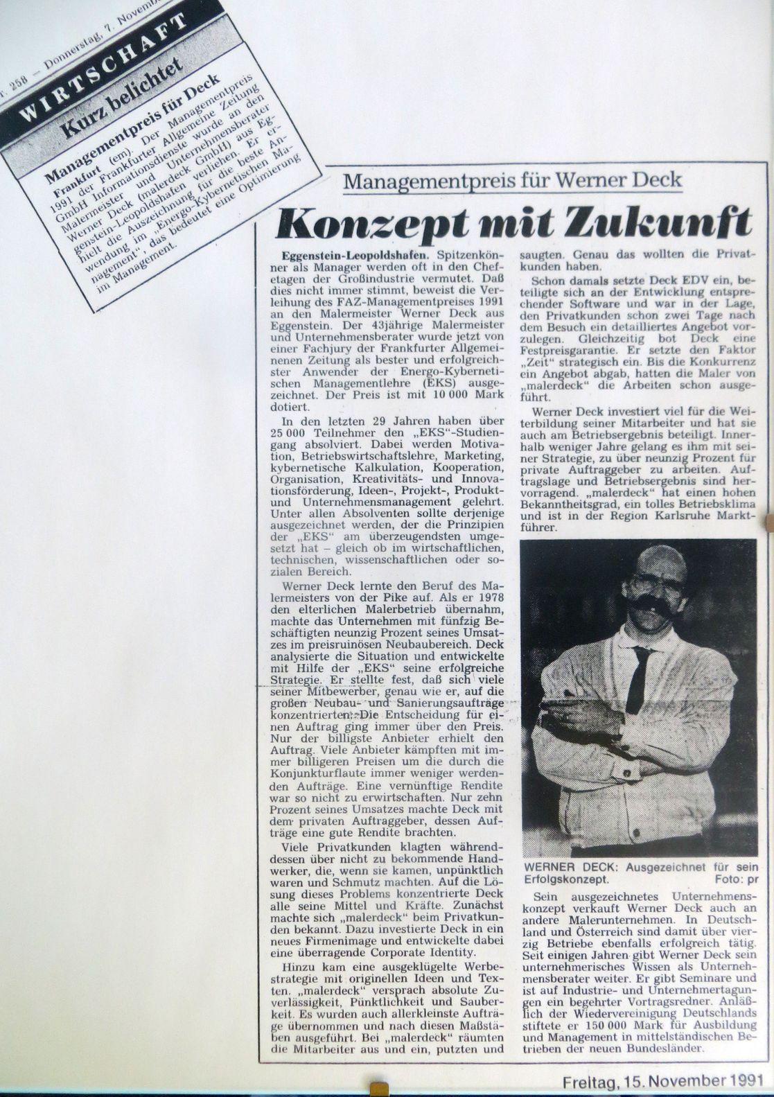 EKS-Preis für Werner Deck