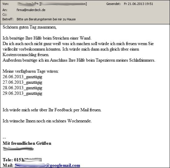 Angebotsanfrage per Email