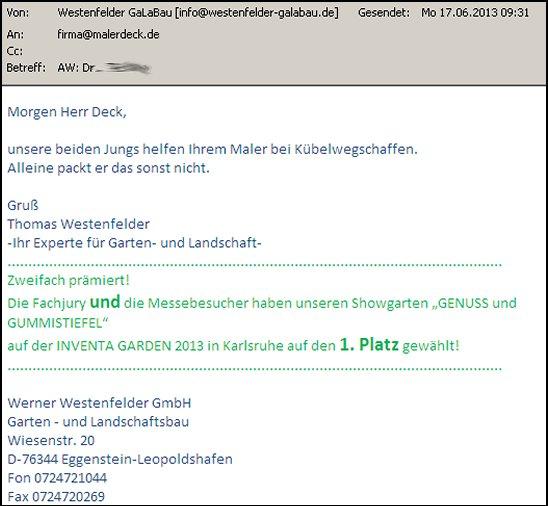 Email von Thomas Westenfelder | Garten- und Landschaftsbau