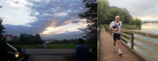 Morgens um 6:30 Uhr, Kloster Seeon, gemeinsamer Lauf um den Klostersee