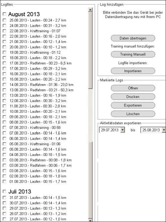 Daten meiner Pulsuhr, die auf den PC übertragen werden