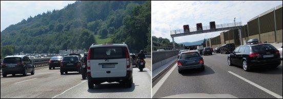 Unser treuester Begleiter, durch Deutschland, Österreich und Italien, war der Stau..
