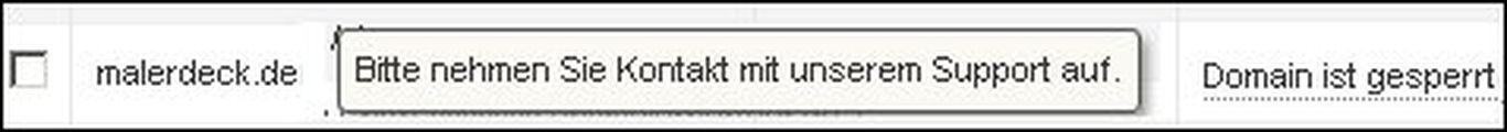 Die Domain malerdeck.de ist gesperrt
