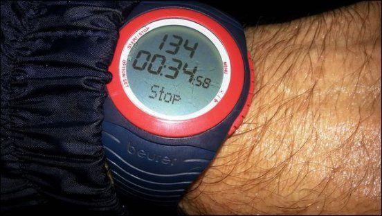 Laufende bei ca. 35 min und einem Durchschnittspuls von 134