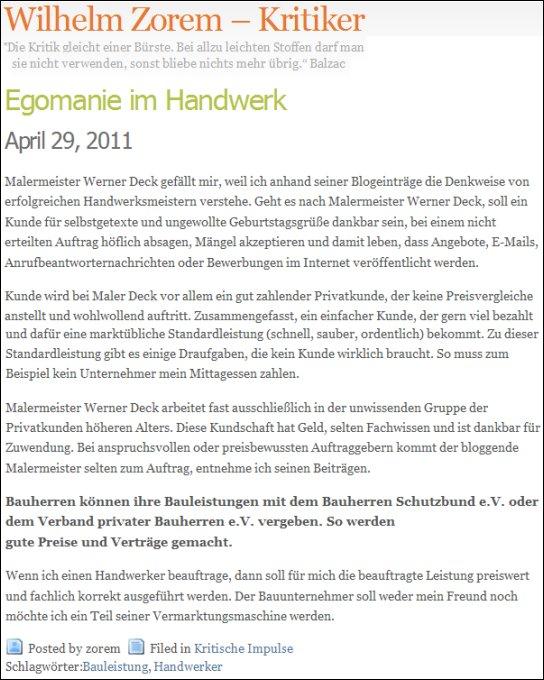 Auch eine Meinung zu malerdeck und Werner Deck
