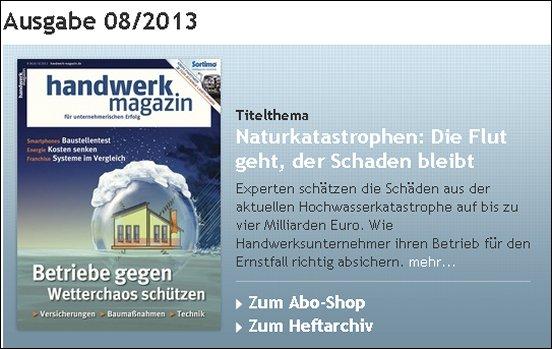 handwerk magazin 08 |2013