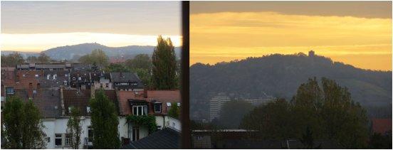 """Morgendlicher Blick aus dem Hotelfenster, auf den Karlsruher Hausberg """"Turmberg"""""""