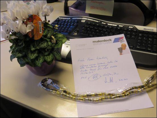 Dankeschön mit Blumengruß und flexibler Kette/Armband