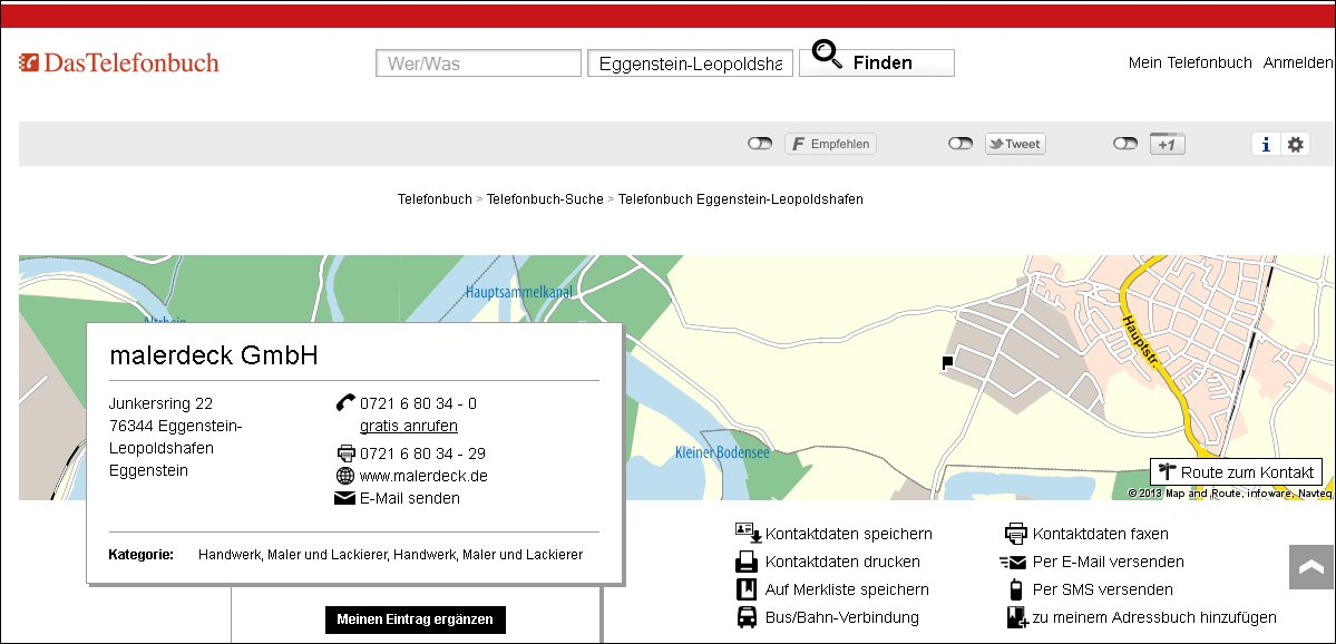 """Onlineversion """"Das Telefonbuch"""""""
