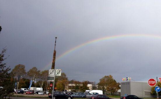 Regenbogen in Karlsruhe, Neureuter Straße / Sonnenstraße