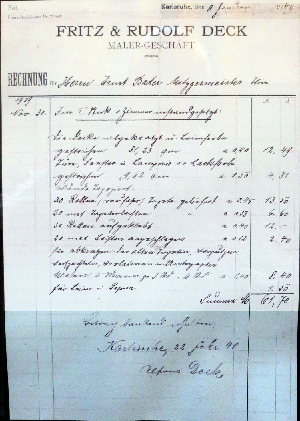 Rechnung aus 1940