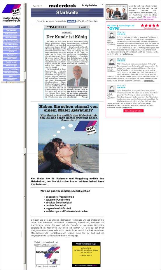 Alte Internetseite malerdeck